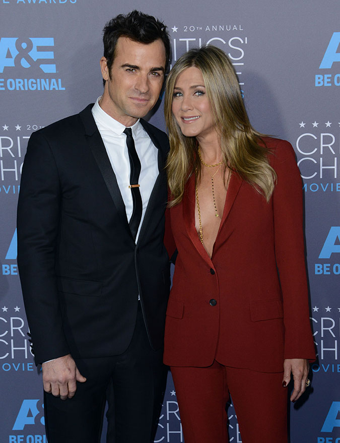 **USA, Australia, New Zealand ONLY** Hollywood, CA - Justin Theroux and Jennifer Aniston at the 20th Annual Critics' Choice Movie Awards held at the Hollywood Palladium in Los Angeles, California. AKM-GSI January 15, 2015 **USA, Australia, New Zealand ONLY** To License These Photos, Please Contact : Steve Ginsburg (310) 505-8447 (323) 423-9397 steve@akmgsi.com sales@akmgsi.com or Maria Buda (917) 242-1505 mbuda@akmgsi.com ginsburgspalyinc@gmail.com