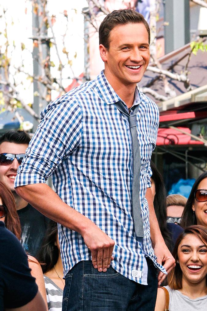 """West Hollywood, CA - Olympic Medalist Ryan Lochte is all smiles as he promotes his new television show """"What would Lochte Do?"""" on Extra at The Grove, in West Hollywood. AKM-GSI April 18, 2013 To License These Photos, Please Contact : Steve Ginsburg (310) 505-8447 (323) 423-9397 steve@ginsburgspalyinc.com sales@ginsburgspalyinc.com or Keith Stockwell (310) 261-8649 keith@ginsburgspalyinc.com ginsburgspalyinc@gmail.com"""