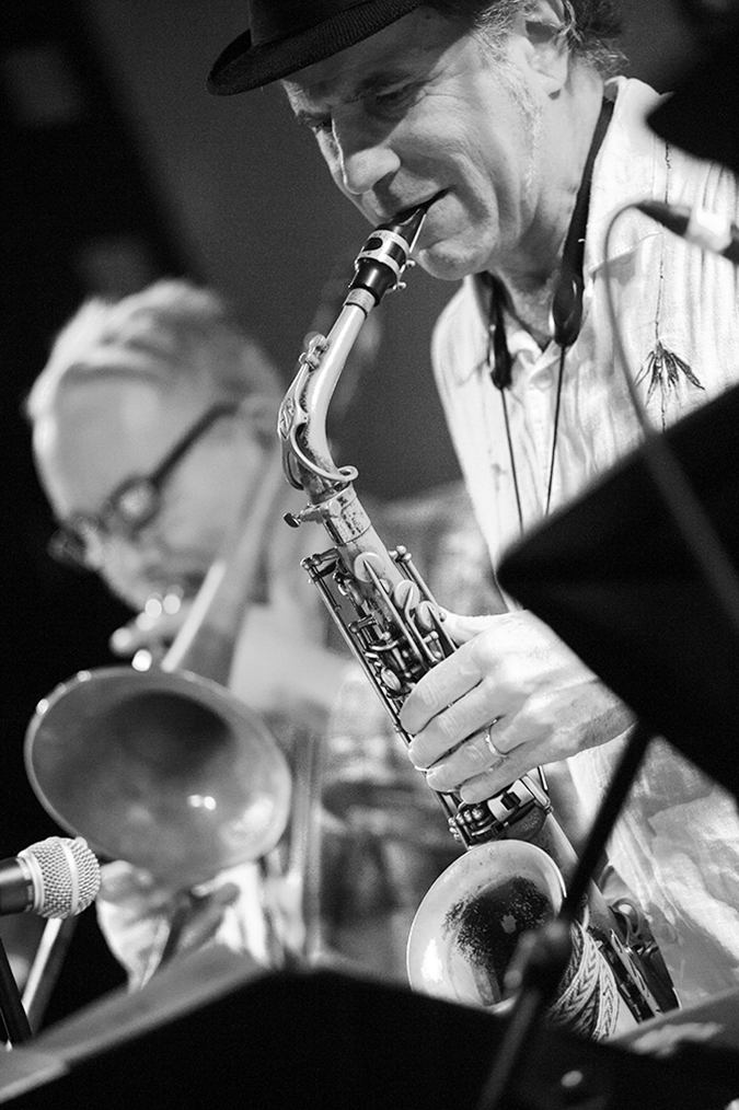 20170106©DayJazzFest1672.jpg The 13th Anual Winter JazzFest played over a snowy weekend from January 5th- January 10. Matt Darriau/saxophone, Arthur Baron/trombone performing Friday night at SOBs with Steven Bernstein's Universal Melody Brass Band.