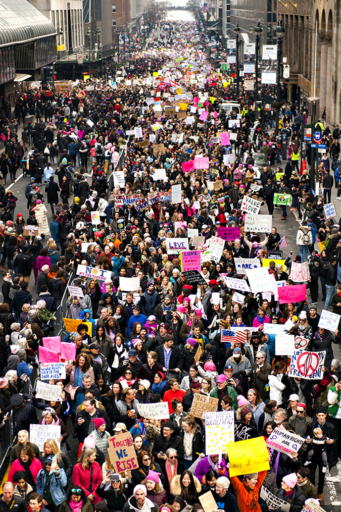 20170121©DayWomansMarch3367.jpg Woman's March in Manhattan, NY. Under cloudy, parting skies, 400,000 women, men, and children mached across 42st and Up Fifth Ave. for 7 hours. All protesting Donald Trump the day after Friday's Presidential Inauguration.