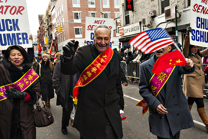 20170205©DAYLunarNewYear4743.jpg Thousands of performers and spectators celebrate The Year of the Fire Rooster during the 18th Annual Lunar New Year festivities in Manhatan Chinatown. Senate Minority Leader Chuck Schumer marching in the Lunar Parade.