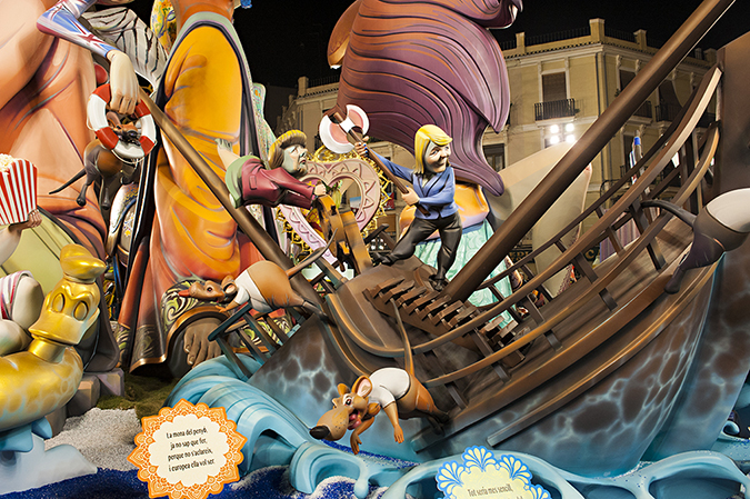 20170319©DAYFallasFestival2702.jpg Thousands of performers and spectators celebrate the Falles Festival on St. Joseph's Day in Valencia Spian on the last day of Fallas. Falla Convento Jerusalen