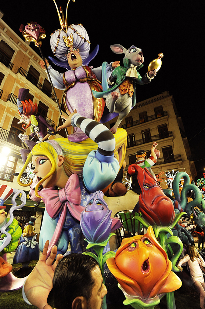 20170319©DAYFallasFestival3663.jpg Thousands of performers and spectators celebrate on St. Joseph's Day in Valencia Spian on the last day of Fallas. Falla Plaza del La Merced