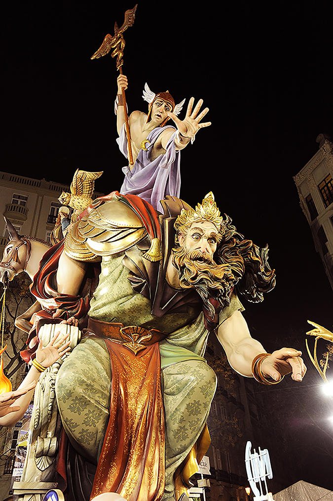 20170319©DAYFallasFestival4010.jpg Thousands of performers and spectators celebrate on St. Joseph's Day in Valencia Spian on the last day of Fallas. Falla Almirante Cadarso Conde De Altea