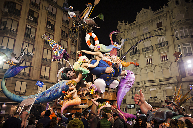 20170319©DAYFallasFestival5201.jpg Thousands of performers and spectators celebrate on St. Joseph's Day in Valencia Spain on the last day of Fallas. Falla Grabador Esteve-Cirilo Amoros