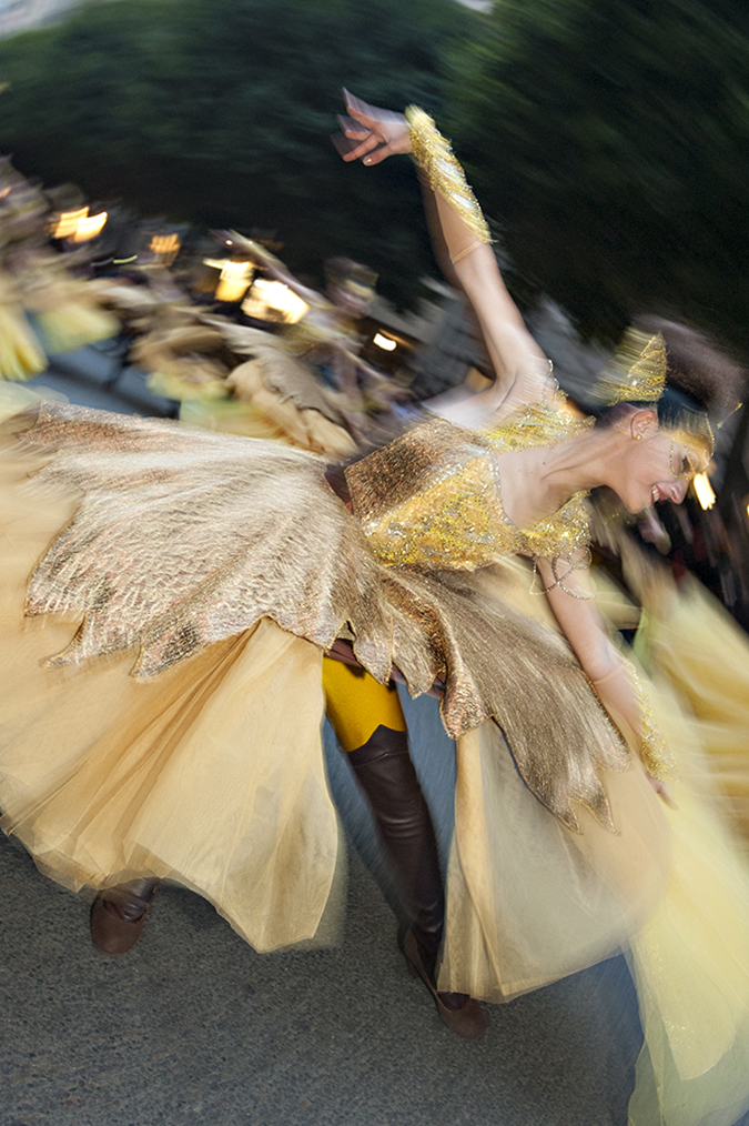 20170319©DAYFallasParade4613.jpg Thousands of performers and spectators celebrate L'Ofrena de flors, The Fire Parade, on St. Joseph's Day in Valencia Spain on the last day of Fallas.