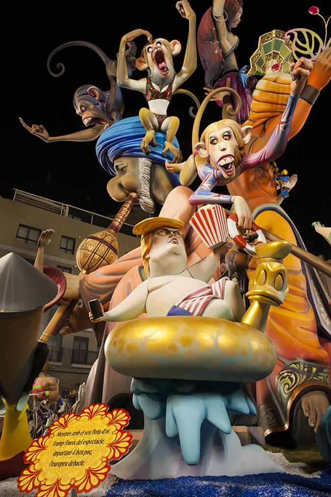 20170319©DAYFallasFestival2622.jpg Thousands of performers and spectators celebrate the Falles Festival on St. Joseph's Day in Valencia Spian on the last day of Fallas. Falla Convento Jerusalen