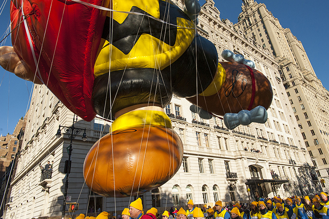 20171123©DayMacyPrde5709.jpg The 91st Macy's Thanksgiving Day Parade kicked off under sunny skies and cool temperatures as hundreds of thousands line the parade route to celebrate the clowns, floats, and balloons fly by, starting the holiday season in New York City.
