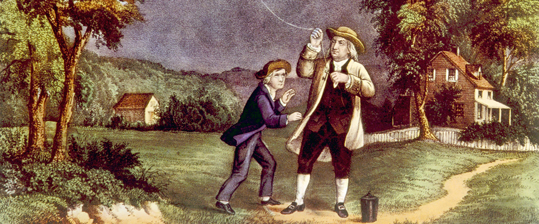 benjamin franklin kite currier ives shutterstock