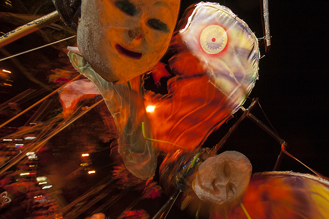 20171031©DAYHalloween1181.jpg The 44st Halloween Parade rolls up 6th Avenue as the giant skelton puppet leading the way.