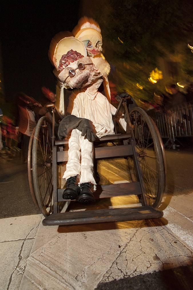 20171031©DAYHalloween2159.jpg The 44st Halloween Parade rolls up 6th Avenue as the giant skelton puppet leading the way.