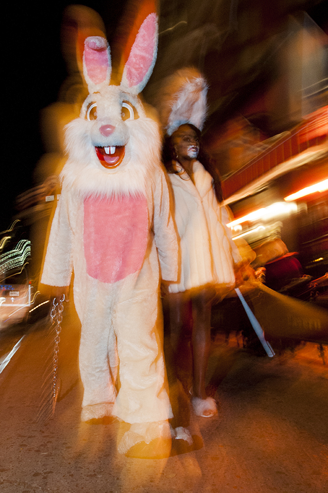 20171031©DAYHalloween2520.jpg The 44st Halloween Parade rolls up 6th Avenue as the giant skelton puppet leading the way.