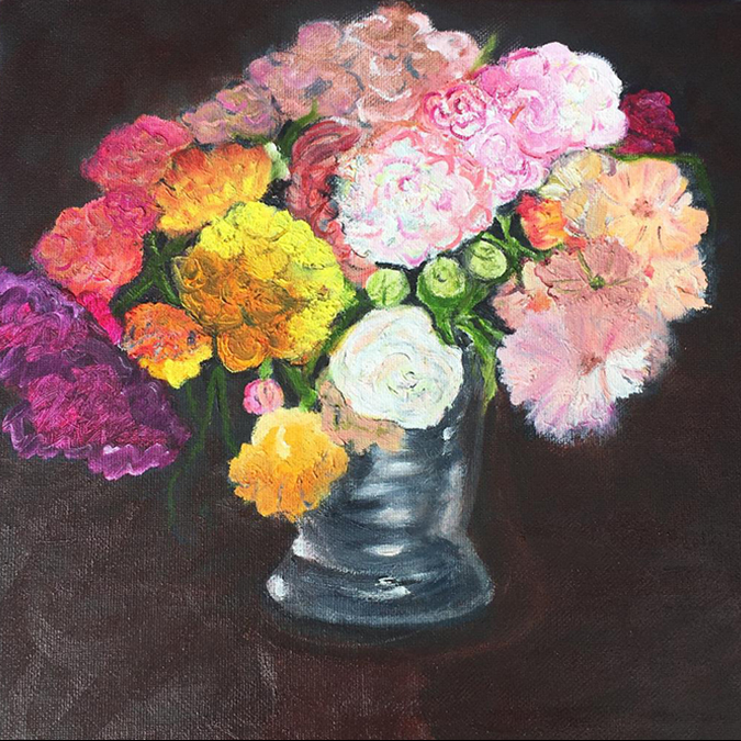 student flower painting