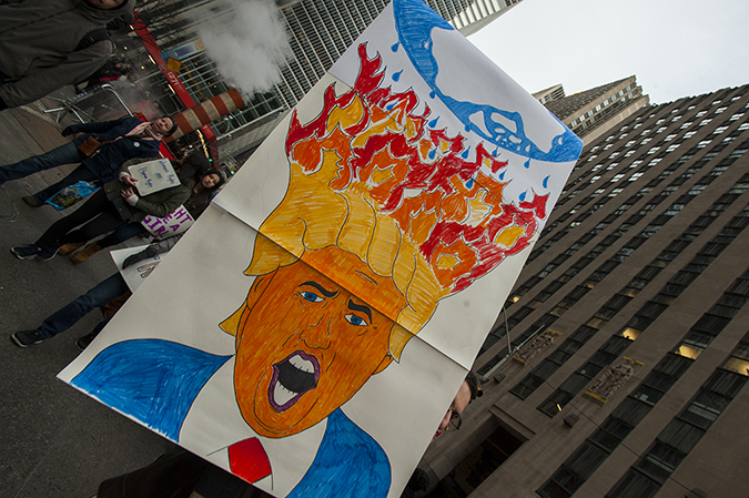 20180120©DayWomansMarch2010.jpg Woman's March in Manhattan, NY. Under cloudy parting skies, tens of thousands women, men, and children marched down Central Park West and Sixth Ave. for 6hours. All protesting Donald Trump policies on the one year anniversary of the 2017 Woman's March and Ttump's first year in office.