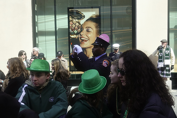 20180317©DayStPatsPrd8956.jpg The 257th edition of New York City's St. Patrick's Day parade march up Fifth Ave. under sunny skies and cool tempertures in the 40s with over 100 marching units of Bagpipes, high school marching bands, and police and fire departments.