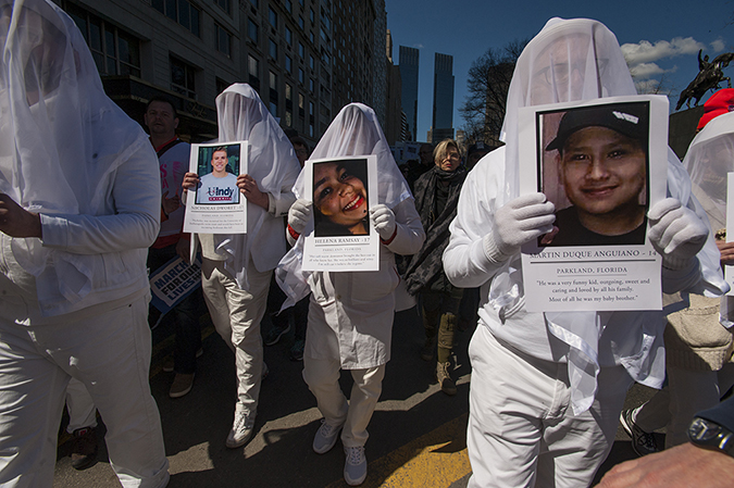 20181324©DayMarchforLives1977.jpg March For Our Lives in Manhattan, NY. Under sunny cool skies, one hundred thousand women, men, and children marched down Central Park West and Sixth Ave. for 6 hours. All protesting Donald Trump policies on Gun Control and remembering those who have been lost to gun violence.