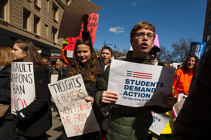 20181324©DayMarchforLives2255.jpg March For Our Lives in Manhattan, NY. Under sunny cool skies, one hundred thousand women, men, and children marched down Central Park West and Sixth Ave. for 6 hours. All protesting Donald Trump policies on Gun Control and remembering those who have been lost to gun violence.