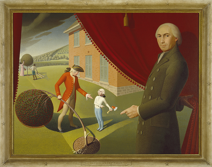 Grant Wood (1891-1942); Parson Weems' Fable; 1939; oil on canvas; Amon Carter Museum of American Art, Fort Worth, Texas; 1970.43