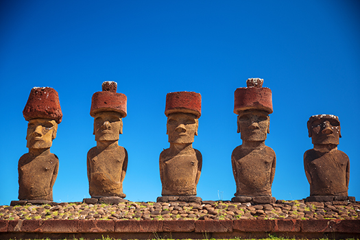 easter island statue hats