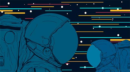 astronauts in space art shutterstock