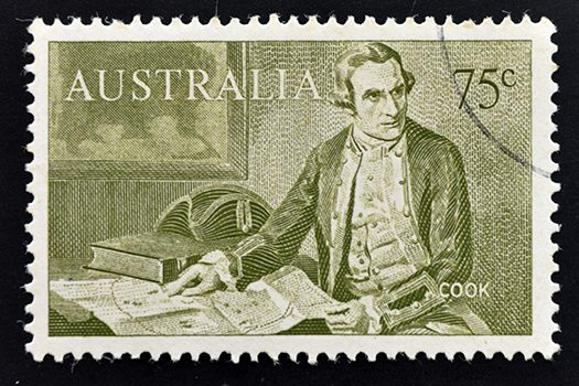 captain cook stamp shutterstock
