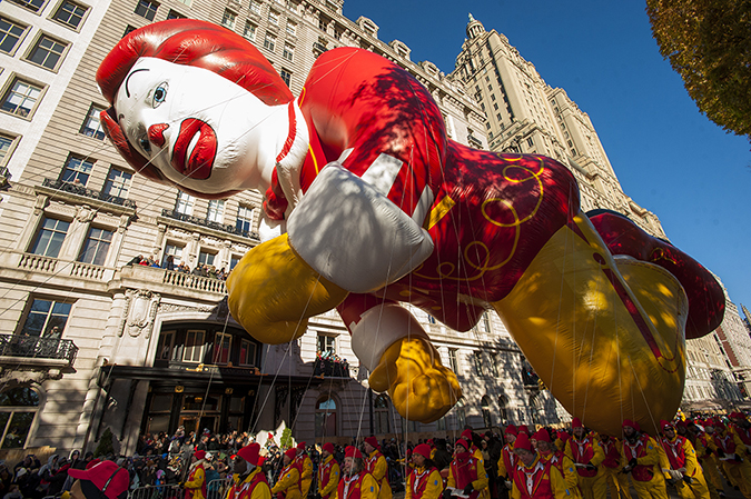 20181122©DayMacyPrde2309.jpg The 92st Macy's Thanksgiving Day Parade kicked off under sunny skies and cool temperatures as hundreds of thousands line the parade route to celebrate the clowns, floats, and balloons fly by, starting the holiday season in New York City.