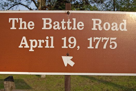 battle road sign - american revolution - Joseph Sohm - Shutterstock