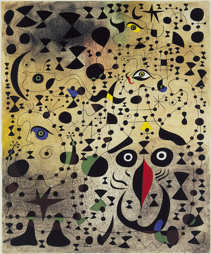 Joan Miró. The Beautiful Bird Revealing the Unknown to a Pair of Lovers (Le Bel oiseau déchiffrant l'inconnu au couple d'amoureux) (from the Constellation series). 1941