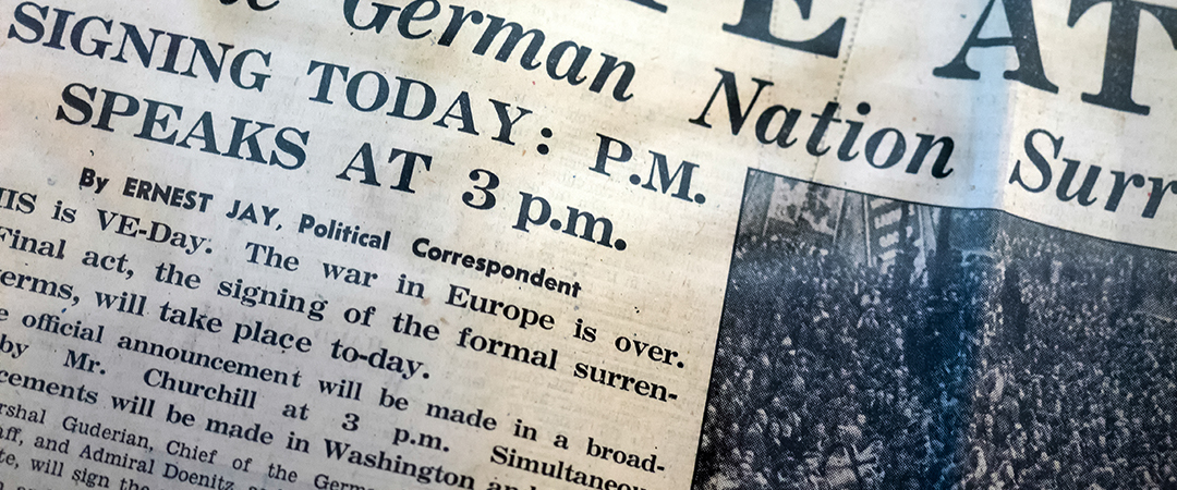 ve day newspaper - Philip Bird LRPS CPAGB - shutterstock