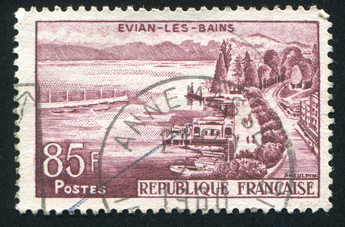 1957 Evian les Bains stamp - rook76 - Shutterstock