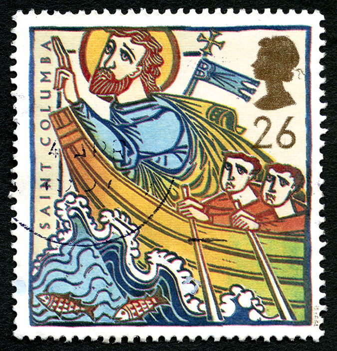 great britain stamp - saint columba - chrisdorney - Shutterstock - embed