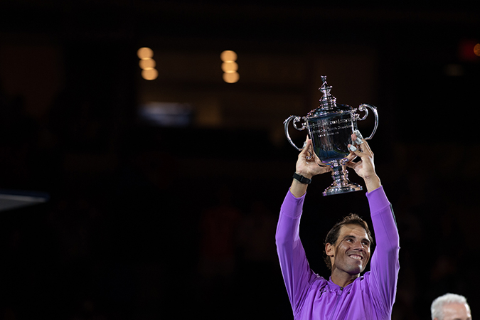 08Sep2019USOpen_4164 - rafael nadal - with trophy - standing - day 14 - photo by neil bainton