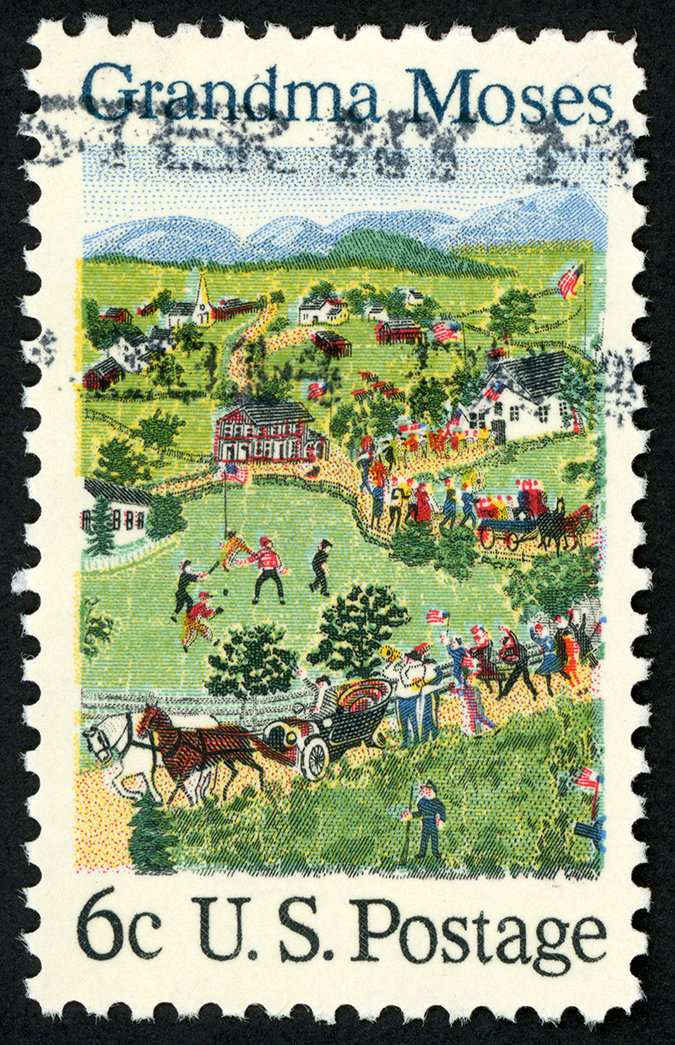 grandma moses - us postage stamp - crica 1969 - oldrich - shutterstock