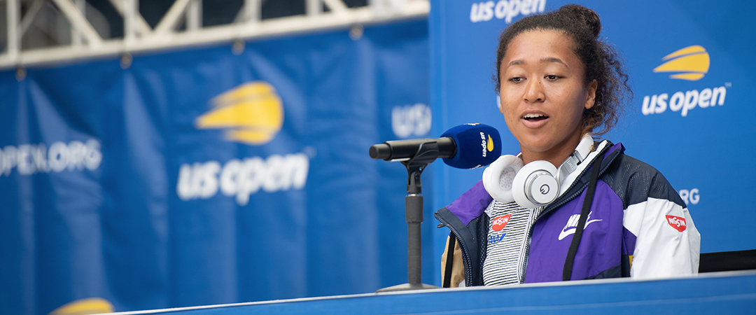 photo of naomi osaka - taken at 2019 us open media day - photo by neil bainton