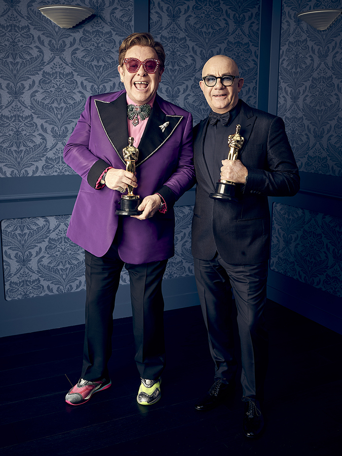 Oscar® winners Elton John and Bernie Taupin during the 92nd Oscars® on Sunday, February 9, 2020 at the Dolby Theatre® in Hollywood, CA, televised live by the ABC Television Network.