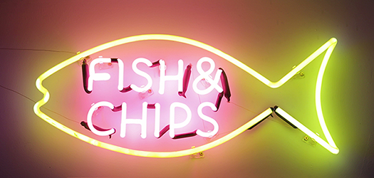 fish and chips sign - Bricolage - shutterstock