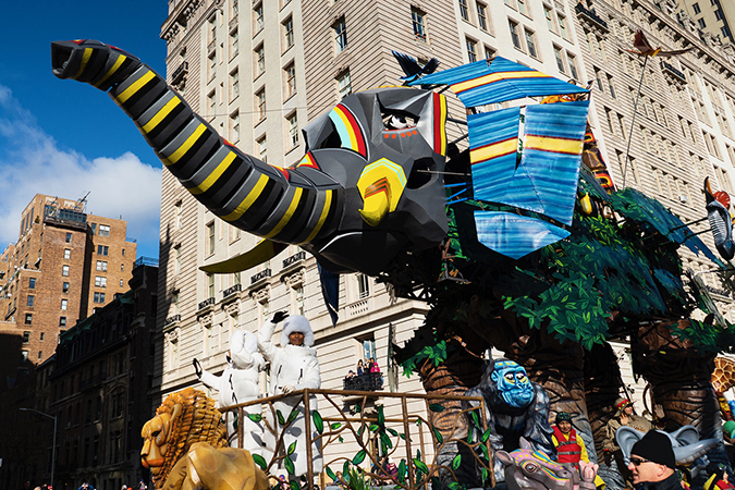 20191128©DayMacyPrde9994.jpg The 93rd Macy's Thanksgiving Day Parade kicked off under windy, sunny skies and cool temperatures as hundreds of thousands line the parade route to celebrate the clowns, floats, and balloons fly by, starting the holiday season in New York City.