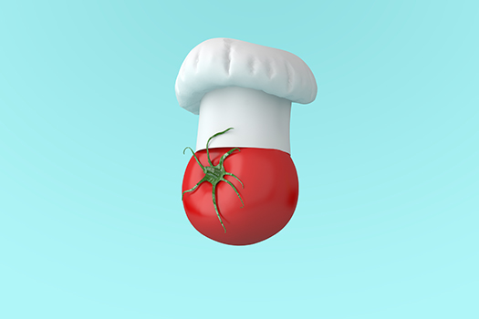 chef hat with tomato - art by small smiles - Shutterstock
