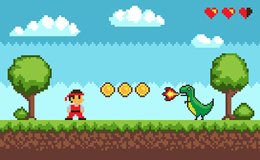 old style pixel video game screen - robuart - Shutterstock